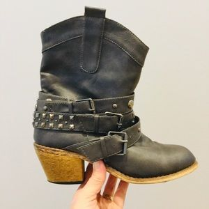 Wild Diva Western wrap studded strap ankle boots
